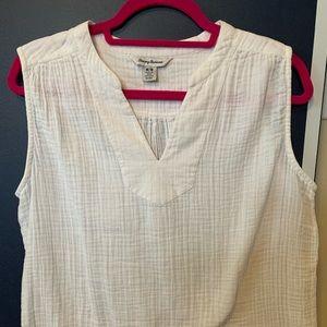 Tommy Bahama women's white gauze sleeveless shirt